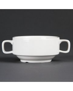 "This is an image of a Olympia Whiteware Soup Bowl with Handles - 400ml 14oz 115mm 4"" (Box 6)"