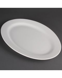 """This is an image of a Olympia Serving Platters Oval Wide Rimmed Platter - 510mm 20"""""""