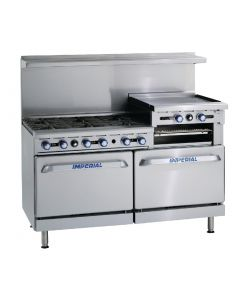 This is an image of a Imperial 6 Burner and Griddle Propane Gas Oven Range IR6RG24-P