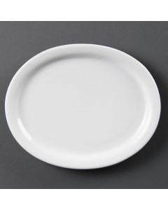 "This is an image of a Olympia Whiteware Oval PlatePlatter - 200mm 8"" (Box 6)"