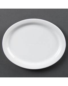 "This is an image of a Olympia Whiteware Oval PlatePlatter - 250mm 10"" (Box 6)"