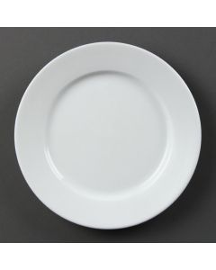 "This is an image of a Olympia Whiteware Wide Rimmed Plate - 200mm 8"" (Box 12)"
