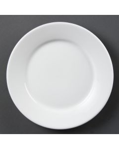 "This is an image of a Olympia Whiteware Wide Rimmed Plate - 23cm 9"" (Box 12)"