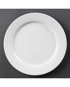 "This is an image of a Olympia Whiteware Wide Rimmed Plate - 280mm 11"" (Box 6)"
