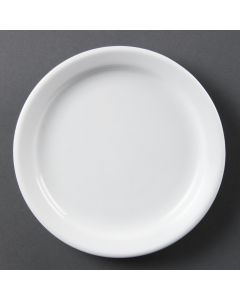 "This is an image of a Olympia Whiteware Narrow Rimmed Plate - 180mm 7"" (Box 12)"