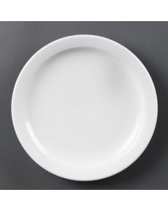 "This is an image of a Olympia Whiteware Narrow Rimmed Plate - 200mm 8"" (Box 12)"