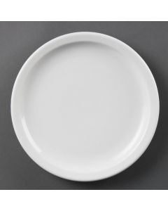 "This is an image of a Olympia Whiteware Narrow Rimmed Plate - 230mm 9"" (Box 12)"