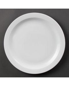 "This is an image of a Olympia Whiteware Narrow Rimmed Plate - 280mm 11"" (Box 6)"