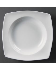 This is an image of a Olympia Whiteware Rounded Square Bowl Circular Well - 210x210x40mm (Box 4)