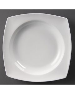 This is an image of a Olympia Whiteware Rounded Square Bowl Circular Well - 250x250x46mm (Box 4)
