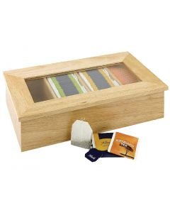 This is an image of a Olympia Tea Box 4 Compartment Light Wood Plastic Window - 90x335x200mm