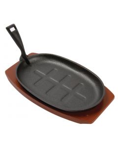 """This is an image of a Olympia Cast Iron Oval Sizzler - 280x190mm 11x7 12"""" with Wooden Stand"""