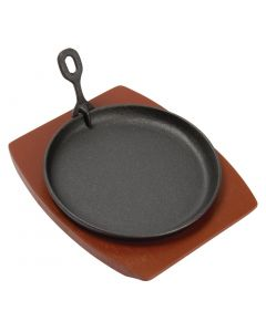 "This is an image of a Olympia Cast Iron Round Sizzler - 220mm 85"" with Wooden Stand"