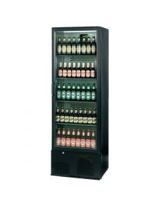 This is an image of a Infrico Full Hght Back Bar Chiller Single Door Charcoal with Black Door (Direct)