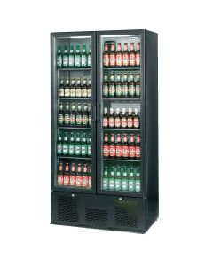 This is an image of a Infrico Full Hght Back Bar Chiller Double Door Charcoal with Black Door (Direct)