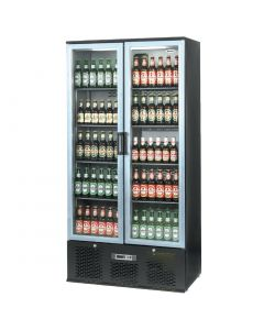 This is an image of a Infrico Full Height Back Bar Chiller Double Door Charcoal with Alu Door (Direct)
