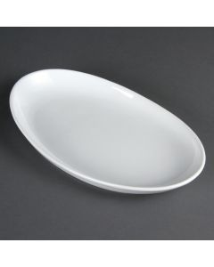 "This is an image of a Olympia French Deep Oval Plate White - 304mm 12"" (Box 4)"