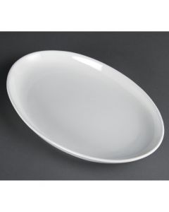 "This is an image of a Olympia French Deep Oval Plate White - 365mm 14 14"" (Box 2)"
