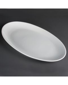 "This is an image of a Olympia French Deep Oval Plate White - 500mm 19 12"" (Box 1)"
