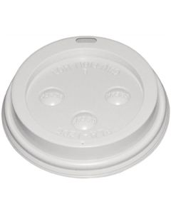 This is an image of a Fiesta Lid for Hot Cups White - 1216oz (Sleeve 50)