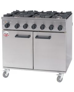 This is an image of a Burco Titan 6 Burner Natural Gas Dual Fuel Range RG90DFNG