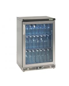This is an image of a Gamko Bottle Cooler - Single Hinged Door 150 Ltr Stainless Steel