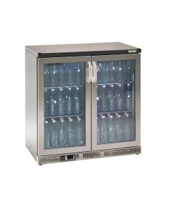 This is an image of a Gamko Bottle Cooler - Double Hinged Door 250 Ltr Stainless Steel