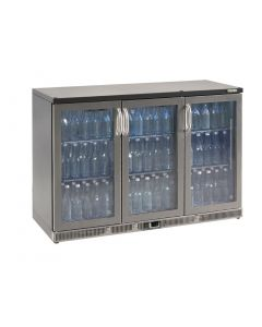 This is an image of a Gamko Bottle Cooler - Triple Hinged Door 315 Ltr Stainless Steel