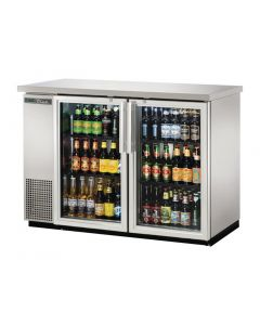 This is an image of a True Back Bar Cooler with Hinged Doors in Silver TBB-24-48-G-S