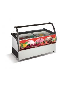 This is an image of a Crystal Venus Elegante 8 Pan Ice Cream Display Counter VenusEle36
