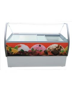 This is an image of a Crystal Venus Elegante 13 Pan Ice Cream Display Counter VenusEle56