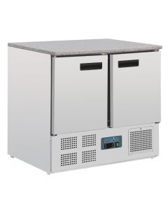 This is an image of a Polar Double Door Refrigerated Counter with Marble Work Top 240Ltr