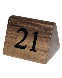 This is an image of a Wooden Table Number Signs Nos 21-30 (Set of 10)