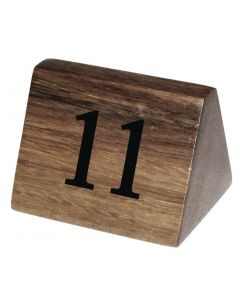 This is an image of a Wooden Table Number Signs Nos 11-20 (Set 10)