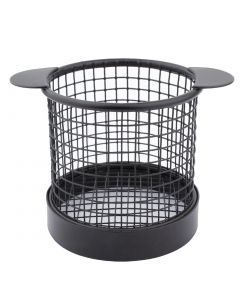 This is an image of a Olympia Presentation Basket Black with Ears - 80 Dia x 80mm H