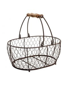 This is an image of a TandG Provence Wire Oval Basket w Handles Brown