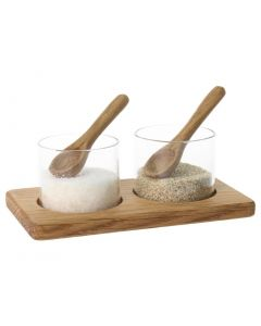 This is an image of a Olympia EUTR Pinch Pot Base with Mini Spoon - 125x70x42mm 5x2 34x 1 34""
