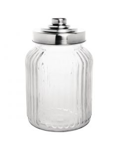 This is an image of a Olympia Ribbed Glass Storage Jar with StSt Lid 112x112x175mm 900ml 32oz (Box 6)
