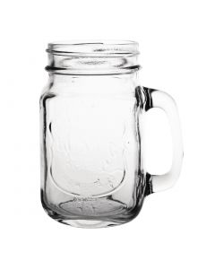 "This is an image of a Olympia Handled Drinking Jar Printed ""Ice Cold Drink"" - 450ml 16oz (Box 12)"