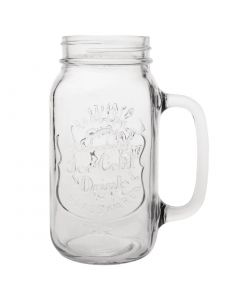 "This is an image of a Olympia Handled Drinking Jar Printed ""Ice Cold Drink"" - 700ml 25oz (Box 12)"