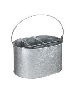 This is an image of a Olympia Galvanised Table Tidy - 135(h)x245(w)x175(d)mm