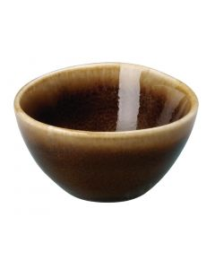 "This is an image of a Olympia Kiln Bark Round Dipping Pot 68x38mm 234x1 12"" 50ml 175oz (Box 12)"