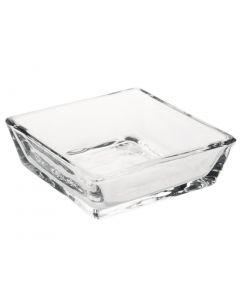 This is an image of a Olympia Glass Square Bowl Shallow - 90x90x30mm (Box 12)