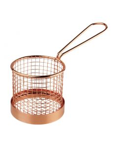 This is an image of a Olympia Round Presentation Basket Copper with Handle - 80 Dia x 80mm H