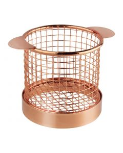 This is an image of a Olympia Round Presentation Basket Copper with Ears - 80 Dia x 80mm H