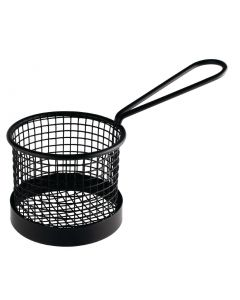 This is an image of a Olympia Round Presentation Basket Black with Handle - 95dia x 80Hmm