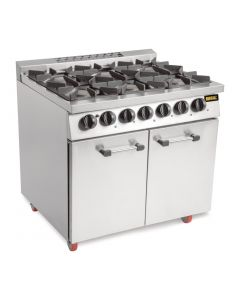 This is an image of a Buffalo 6 Burner Gas Oven Range with Castors (NatPro)