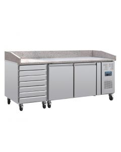 This is an image of a Pizza Counter with Marble Top 2 Doors Dough Drawers Side Compressor