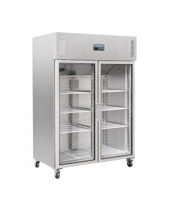 This is an image of a Polar Upright Double Glass Door Gastro Refrigerator 1200Ltr