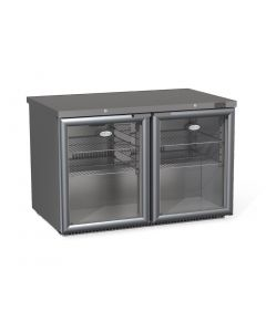 This is an image of a Foster 2 Glass Door 360Ltr Under Counter Fridge with Light HR360G 13121
